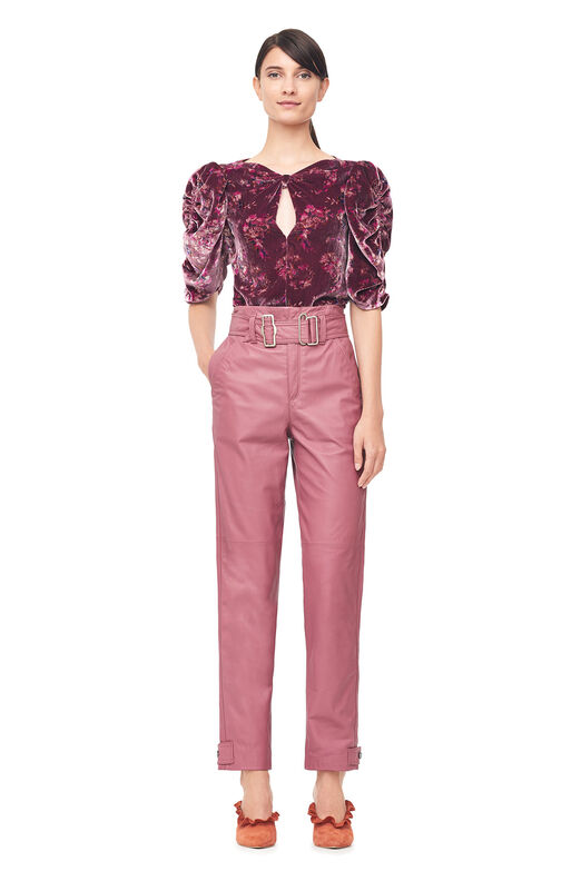 Belted Leather Pant - Blusher