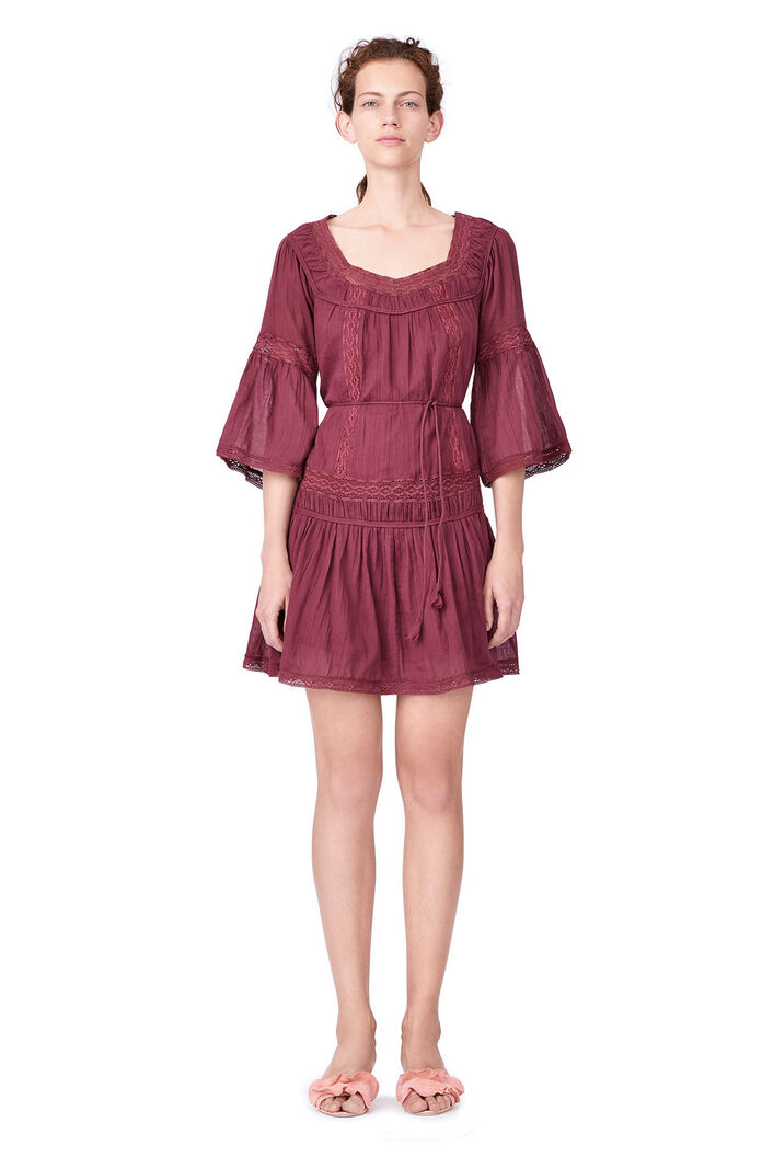 La Vie Gauze Dress with Lace - Bordeaux