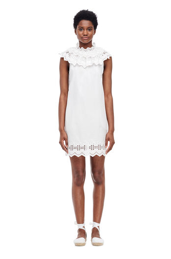 La Vie Eyelet Poplin Dress - Milk
