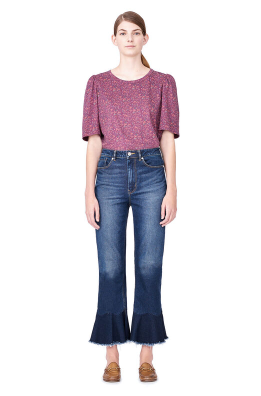 La Vie Brittany Floral Jersey Tee - Plum Combo