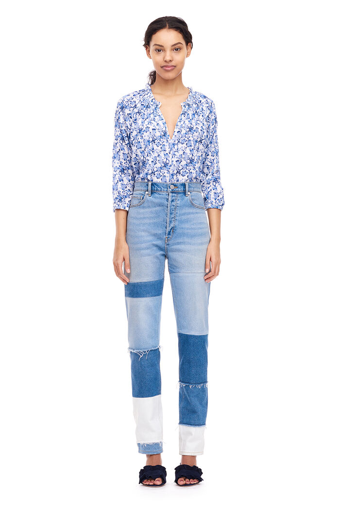 Aimee Floral Top - Blue Combo