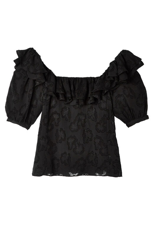 Satin Jacquard Ruffle Top
