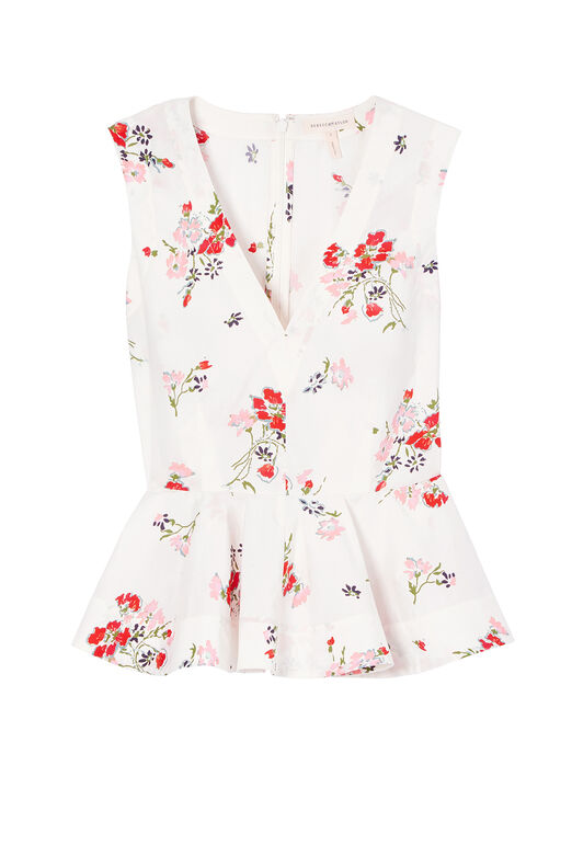 Sleeveless Marguerite Floral Poplin Top