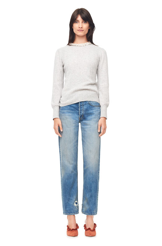 Cashmere Ribbed Pullover - Grey Heather