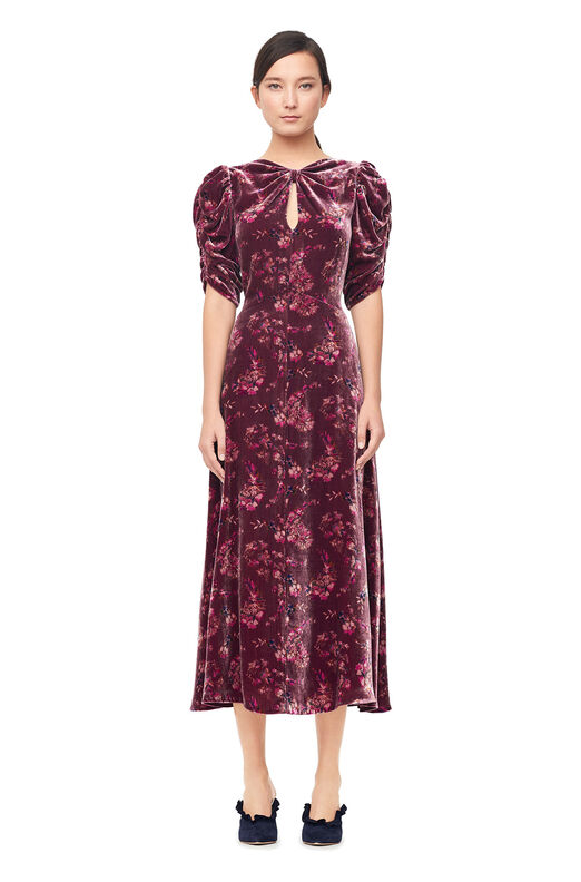 Jewel Paisley Velvet Midi Dress - Plum Combo