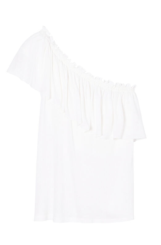 One-Shoulder Ruffle Jersey Tee