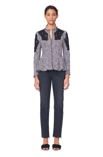 Slub Suiting Jacket with Lace - Black/Rosebud