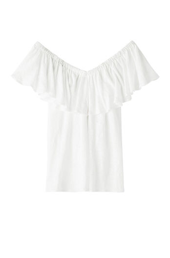 On/Off Shoulder Jersey Linen Tee