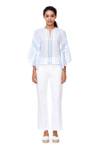 La Vie Variegated Stripe Top - Blue Combo