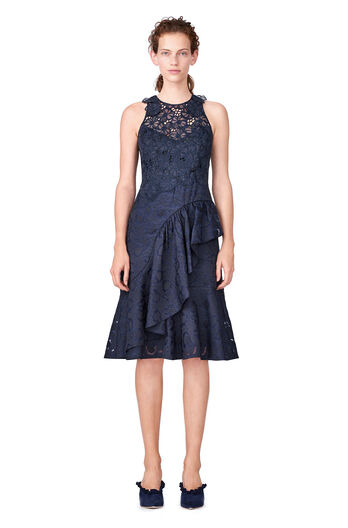Aly Fil Coupe Ruffle Dress - Dark Navy