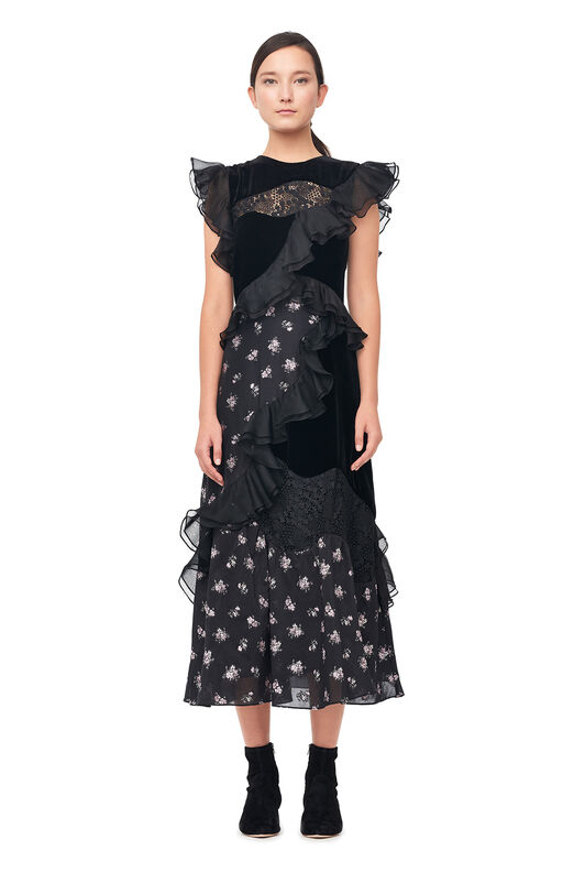 Floral Jacquard & Velvet Dress - Black