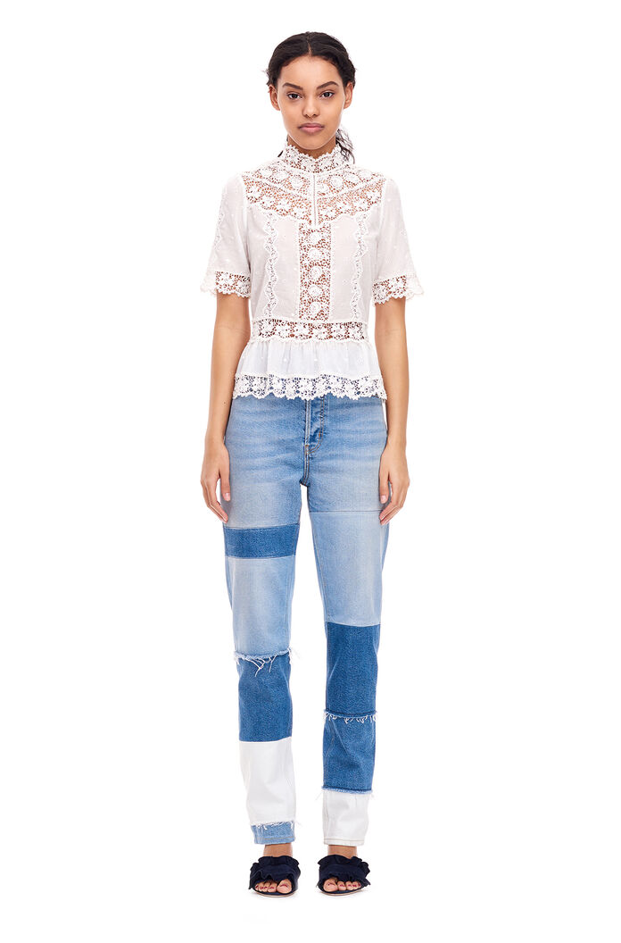 Eyelet Mock Top - Snow
