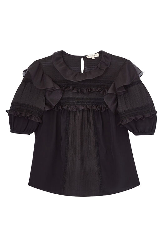 Ruffled Silk & Lace Top