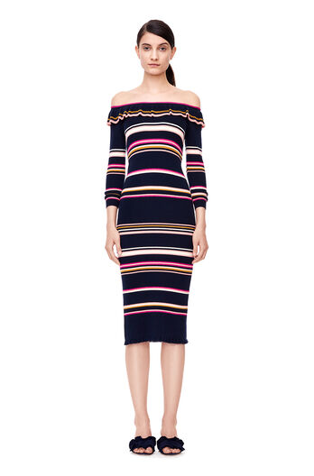 Striped Ribbed Dress - Navy