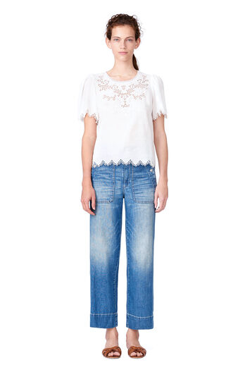 Amora Embroidered Top - Milk
