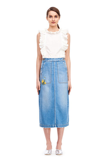 La Vie Embroidered Denim Skirt - Bluebell Wash
