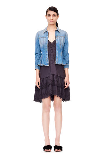 Denim Peplum Jacket - Vintage Blue Wash