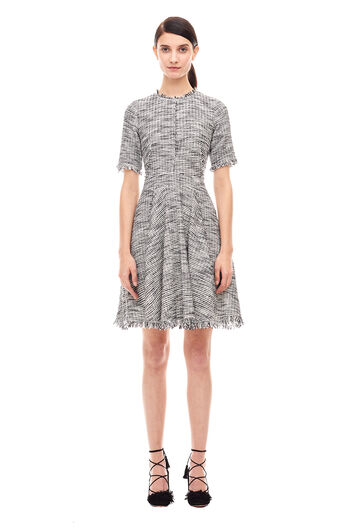 Bouclé Tweed Dress - Black/Chalk