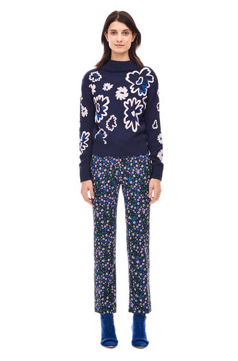 Floral Embroidery Pullover - Navy Combo