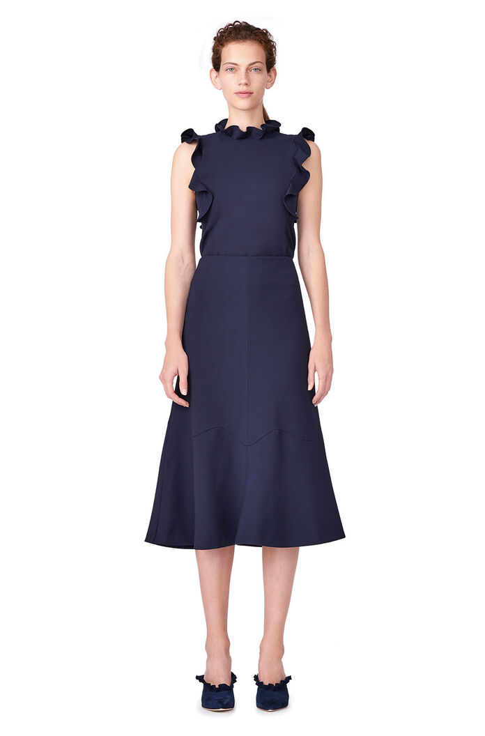Stretch Suiting Fluted Skirt - Dark Navy
