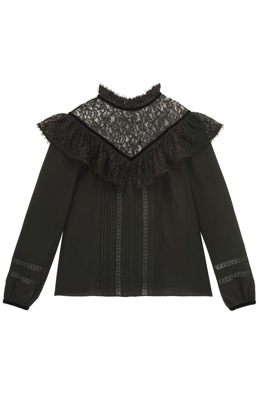 Silk & Lace Top With Velvet Trim