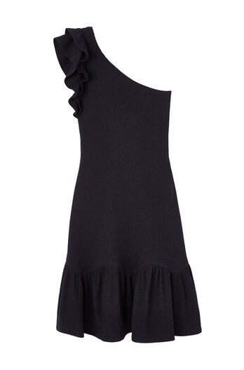 One-Shoulder Ribbed Jersey Dress