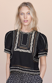 SHORT SLEEVE ESME EMBROIDERY TOP