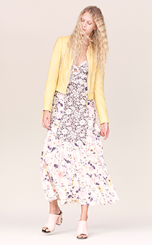 SLEEVELESS TAPESTRY GARDEN CAMI DRESS & PATCHED LEATHER JACKET