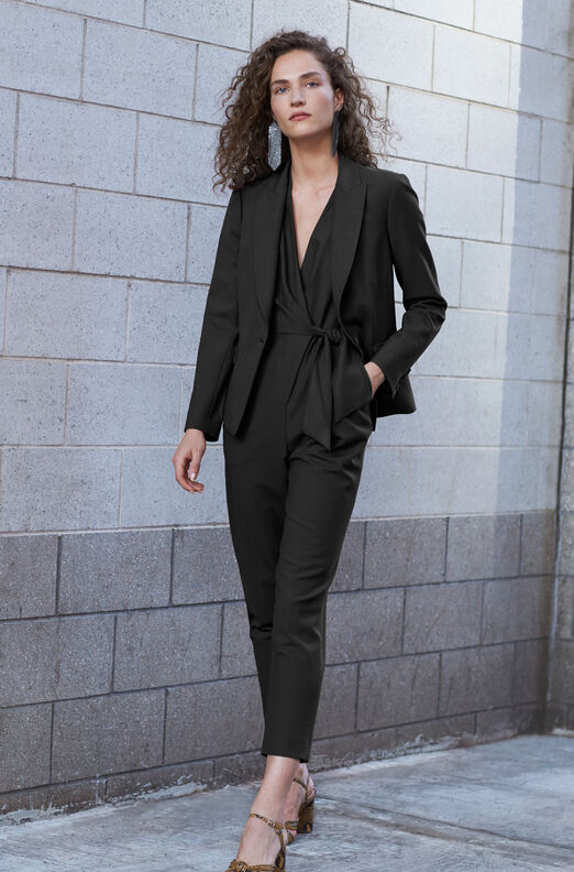 Tailored Gabardine Suiting Wrap Jumpsuit