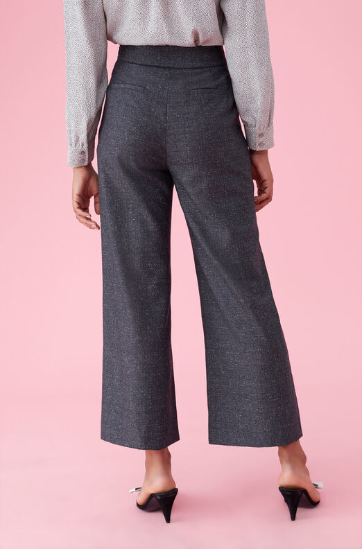 Speckled Herringbone Wide Leg Crop Pant