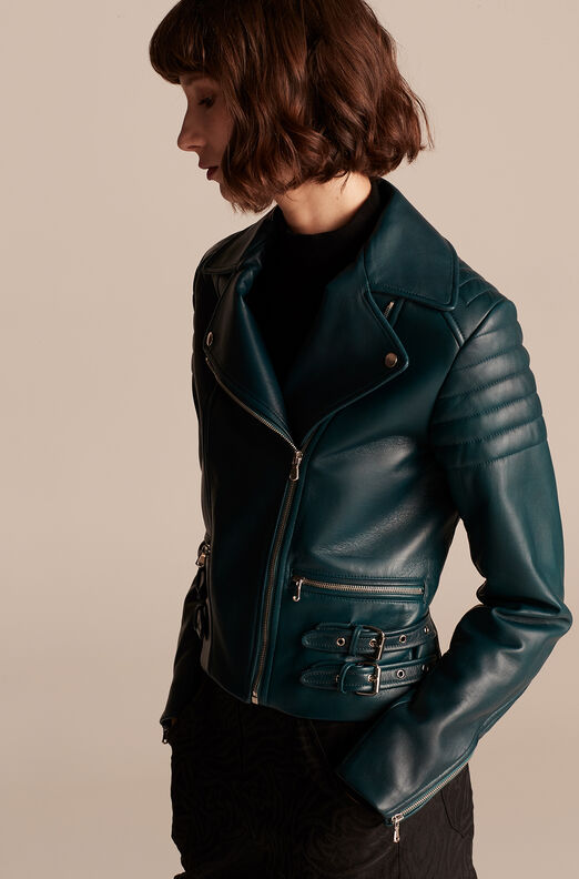 Moto Leather Jacket, Evergreen, large