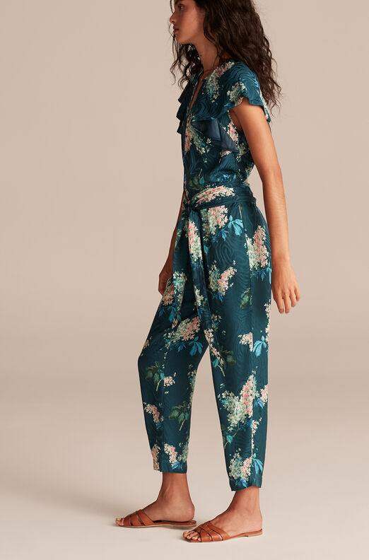 Hydrangea Floral Tie Waist Pant, Teal Combo, large
