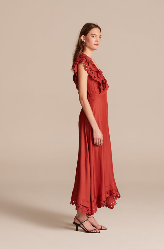 Embroidered Silk Dress, Brick, large