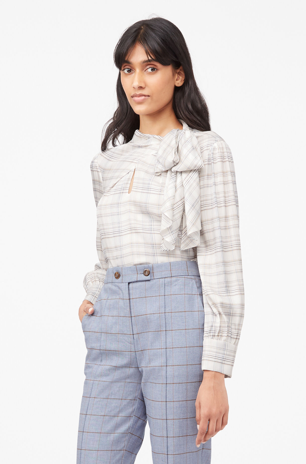 Tailored Etched Plaid Top, Snow Combo, large