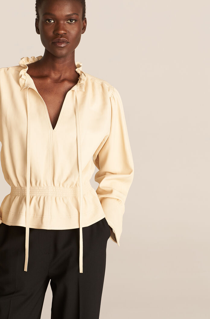 Glove Leather Blouse, Straw, large