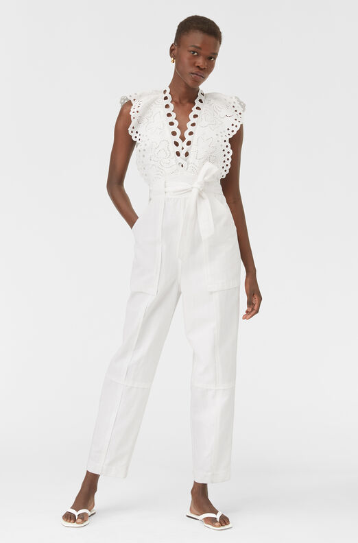 Ariana Eyelet Embroidered Jumpsuit, Milk, large