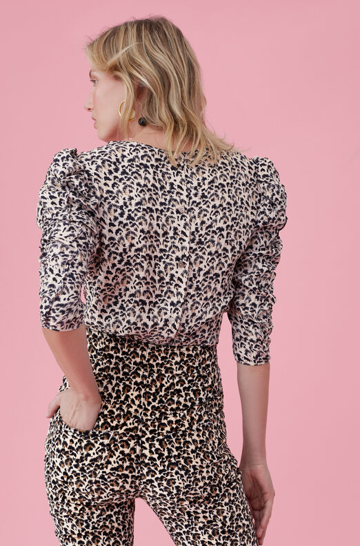 Leopard Print Silk Ruched Top