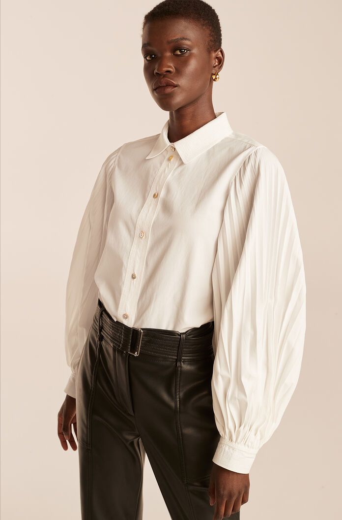 Pleated Long Sleeve Button Down, Milk, large