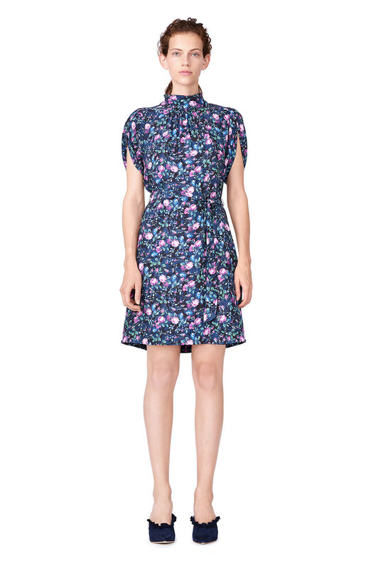 Ruby Floral Petal Sleeve Silk Dress - Dark Navy Combo
