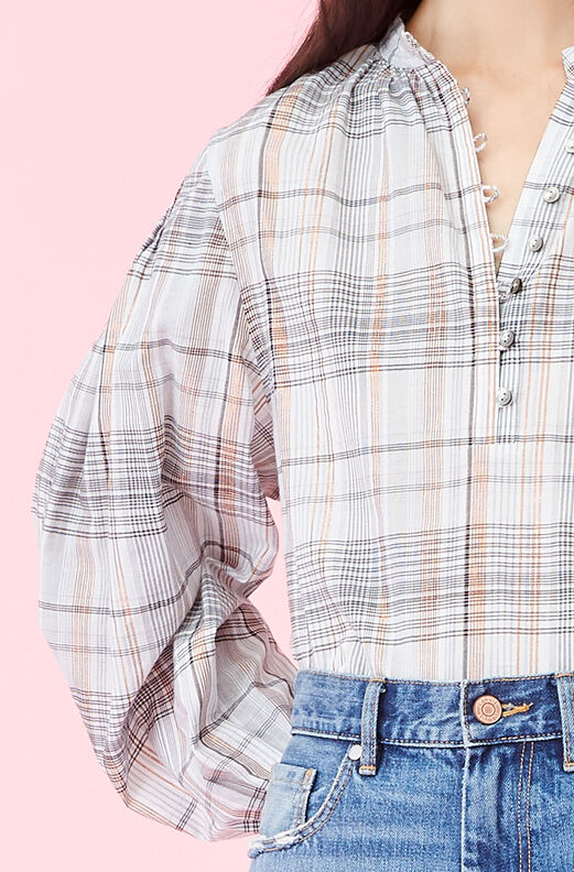 La Vie Lurex Plaid Top