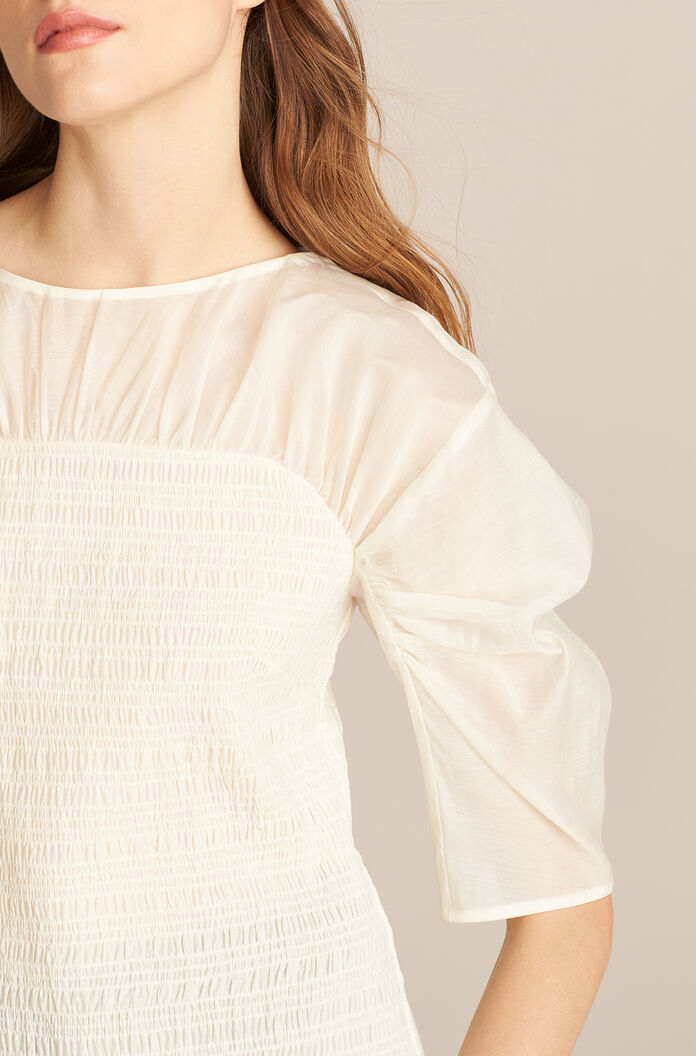 Long Sleeve Ruched Organza Blouse, Bone, large