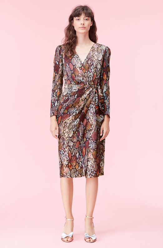 Watercolor Snake Silk Wrap Dress