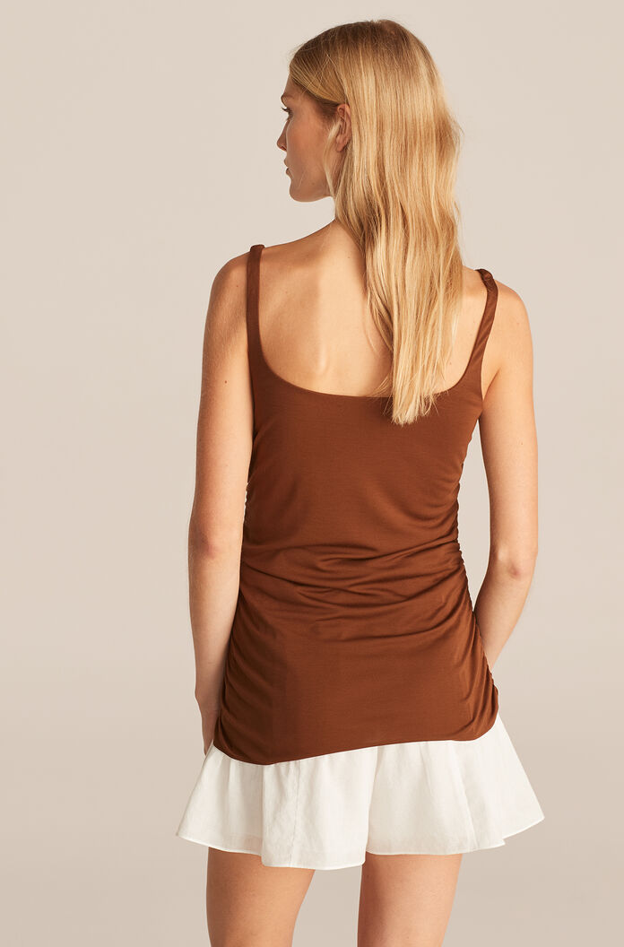 Ruched Seam Tank, Cacao, large