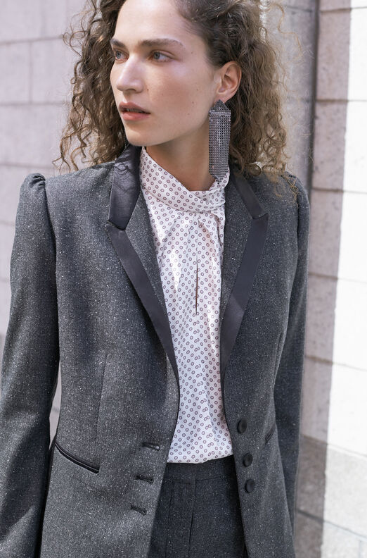 Tailored Herringbone Blazer
