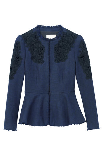 Slub Suiting Jacket with Lace