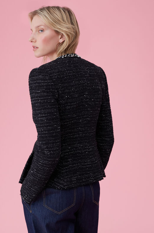 Stretch Tweed Jacket With Pearl Trim