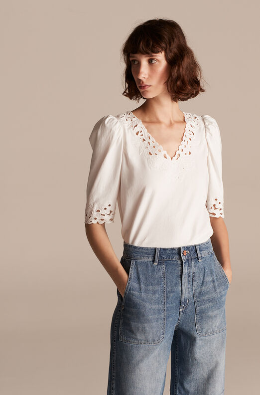 La Vie Ella Embroidery Jersey Top, Milk, large