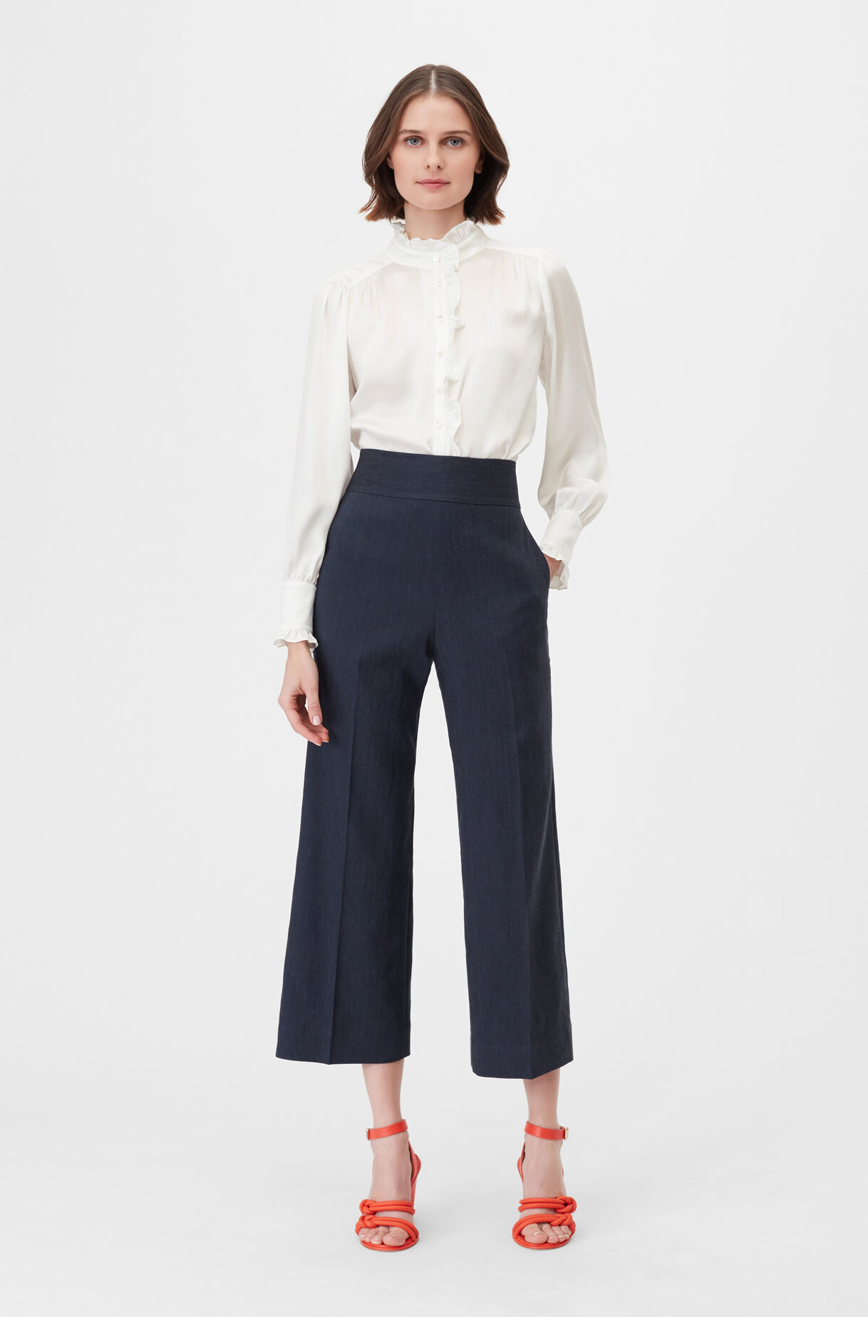 Tailored Stretch Linen Blend Cropped Pant, , large