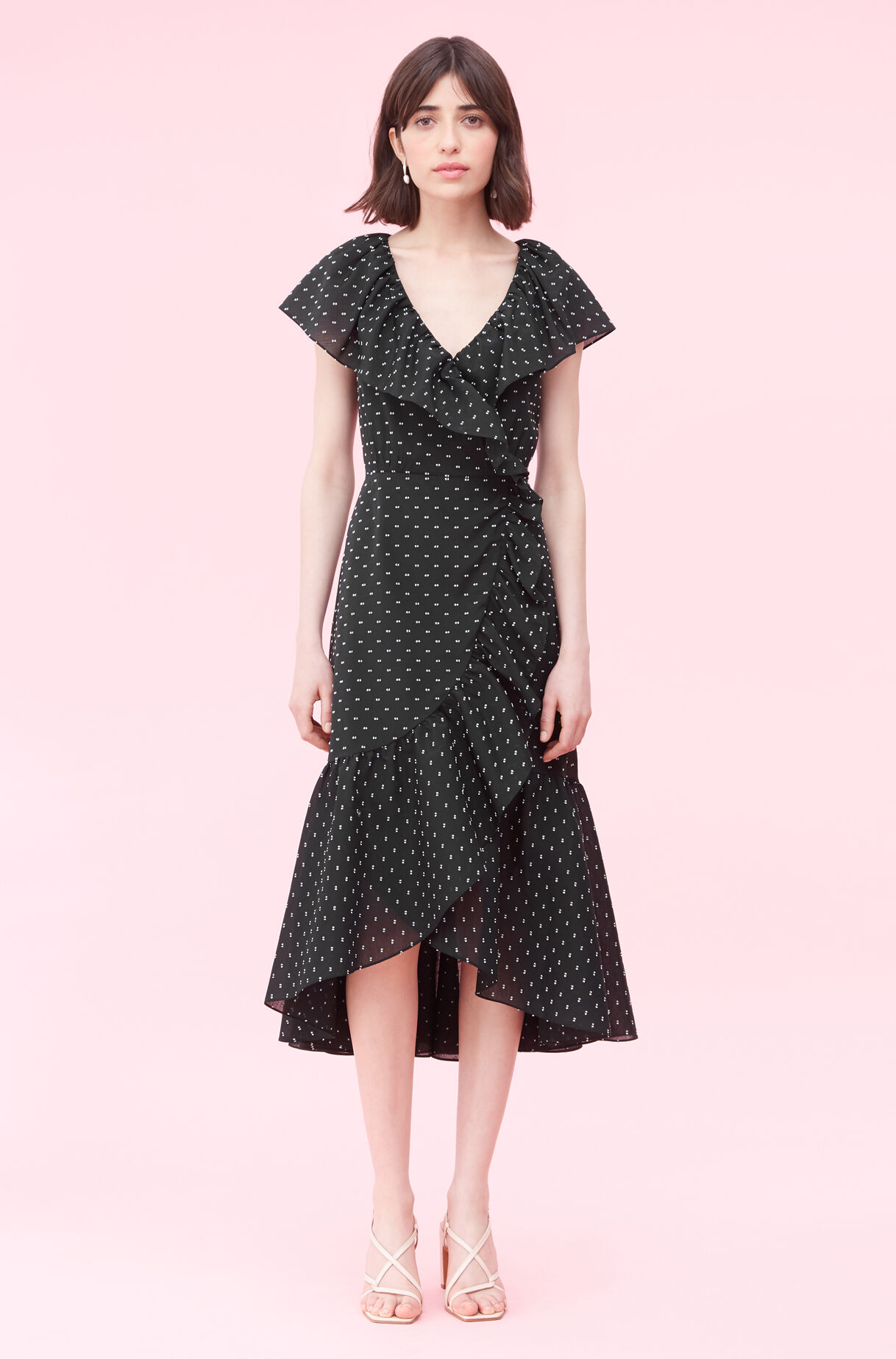 Birdseye Dot Clip Wrap Dress, , large