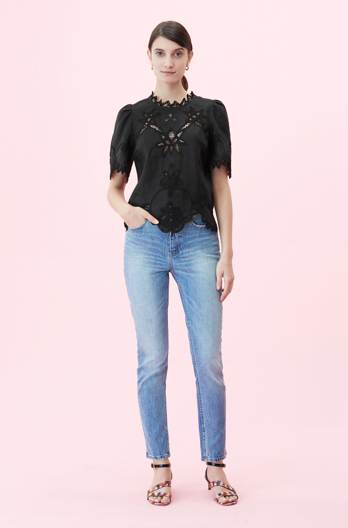 Terri Embroidered Top, , large